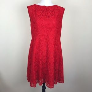 Red lace fit and flare dress French Connection